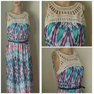 LILY ROSE NWOT Belted Lined Sleevless Maxi Dress